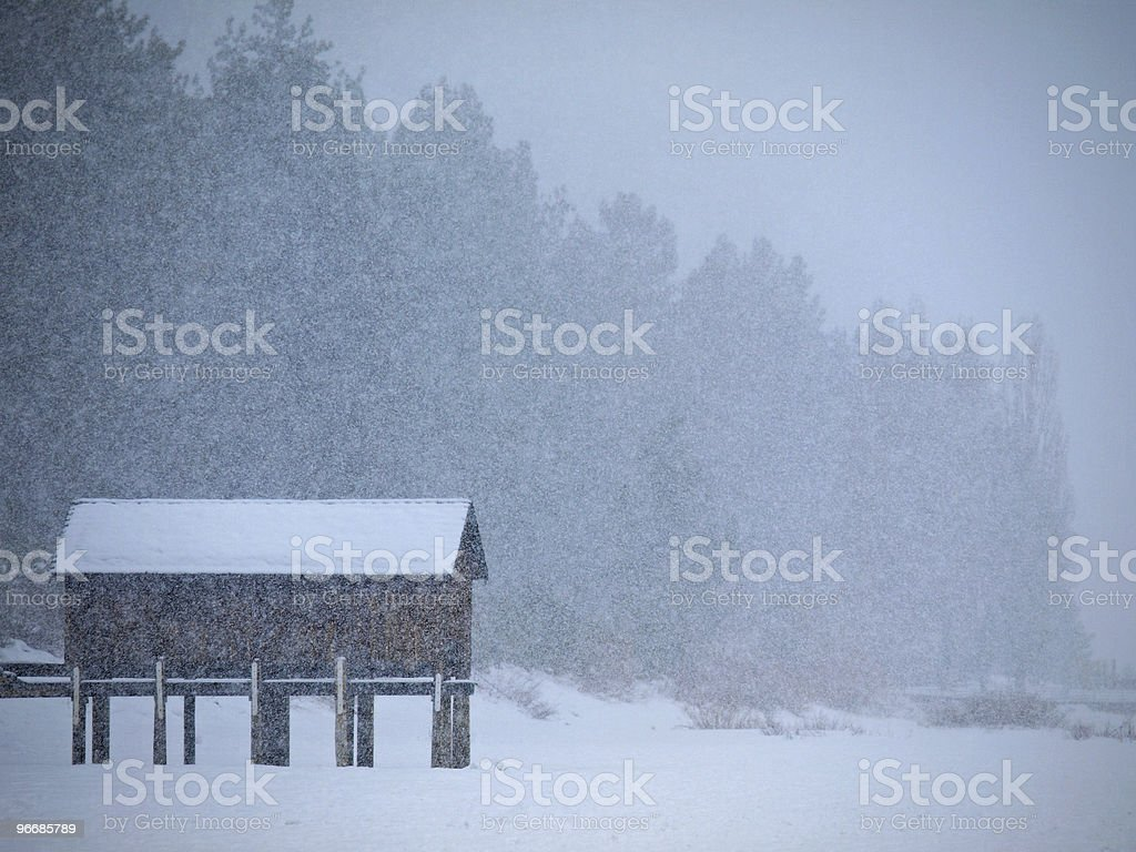Cabin Isolated in Heavy Snow royalty-free stock photo