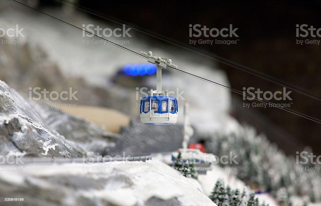 cabin lift at ski resort stock photo