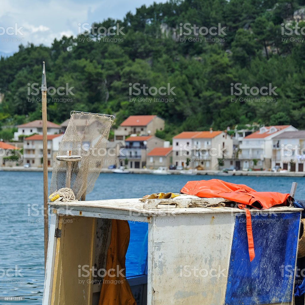 Cabin of a fishing boats stock photo