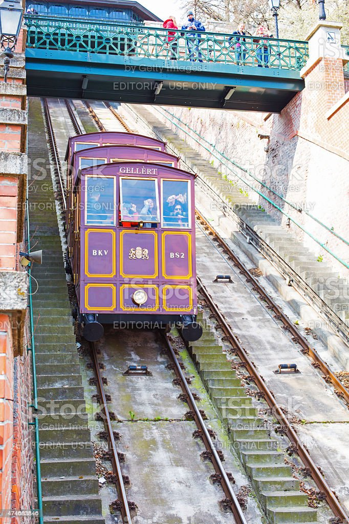 Cabin of Gellert cable car, Budapest stock photo