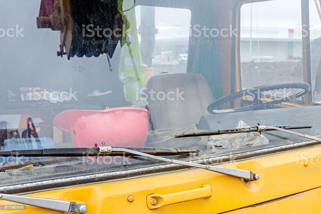 Cabin of mobile crane truck, close view stock photo