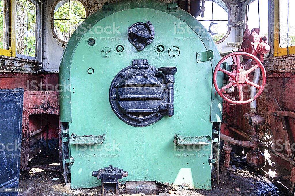 Cabin of vintage steam locomotive royalty-free stock photo