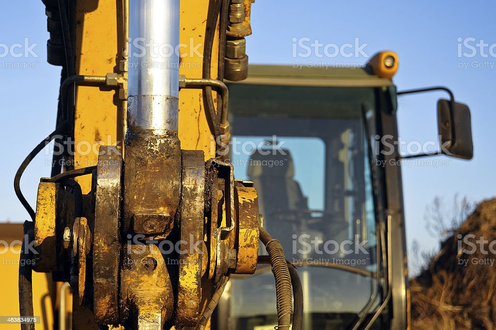 Cabin of wheel loader stock photo