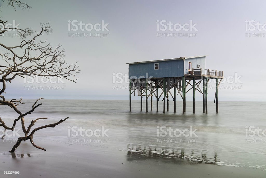Cabin on Hunting Island stock photo