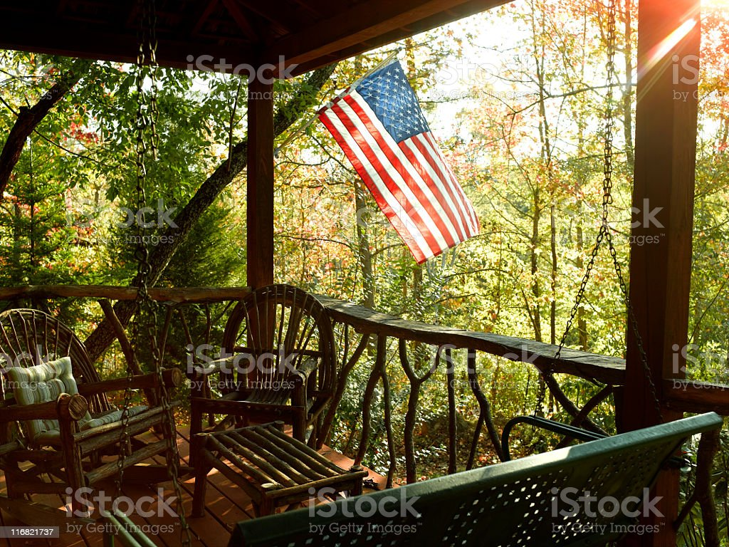 Cabin Porch stock photo