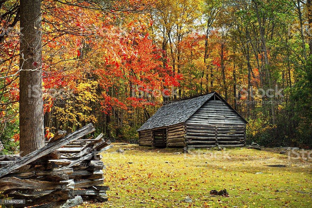 Cabin, Roaring Fork, Great Smoky Mountains, Gatlinburg, Tennessee, USA stock photo