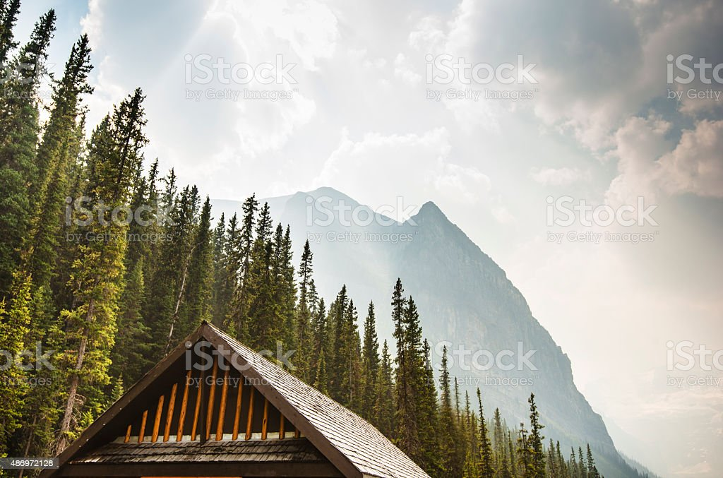 Cabin rooftop on Lake Louise in Banff National Park stock photo