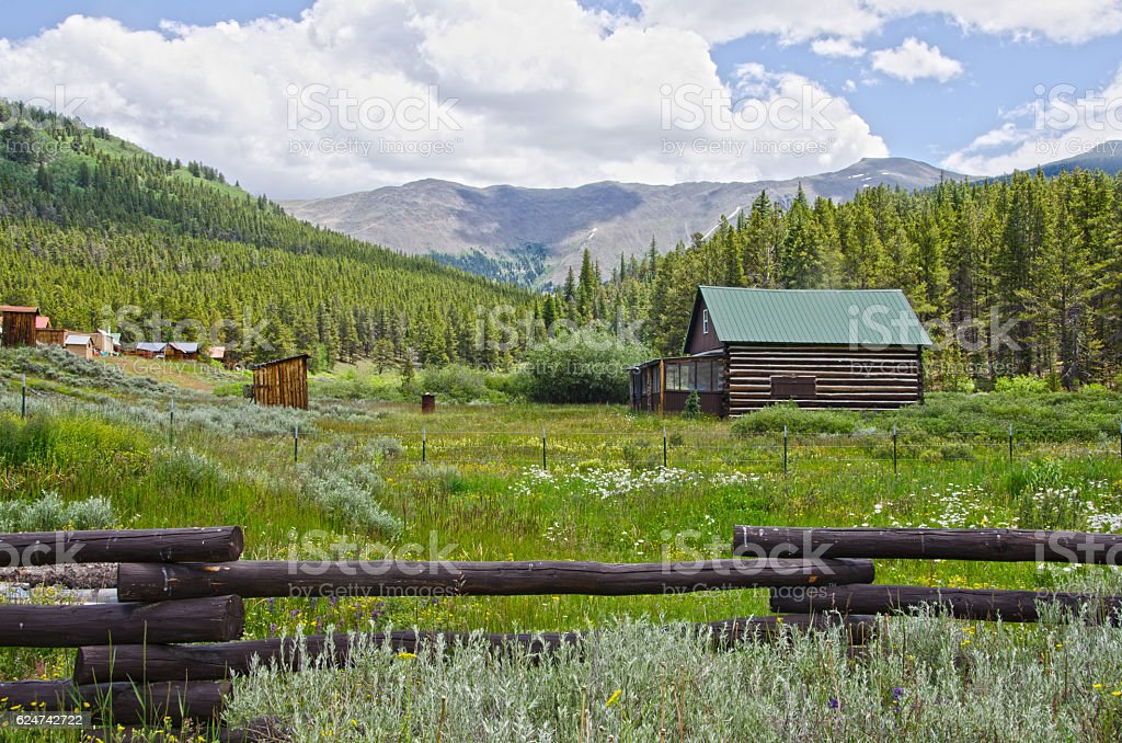 Cabin with a View in Tin Cup, Colorado stock photo