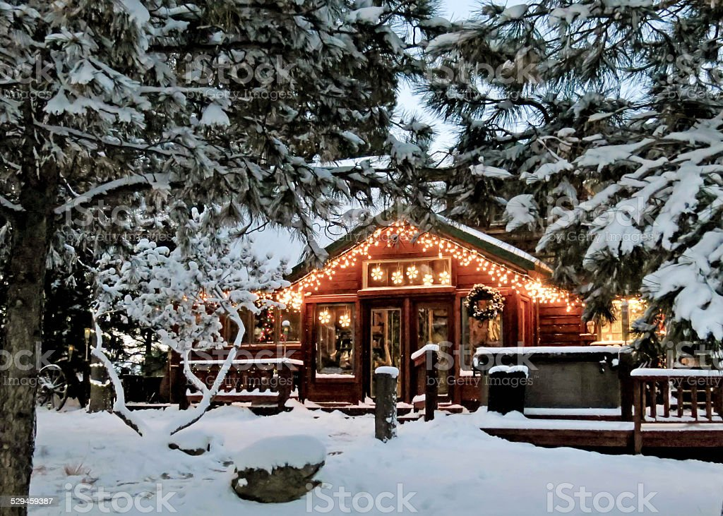 Cabin with Christmas Lights stock photo