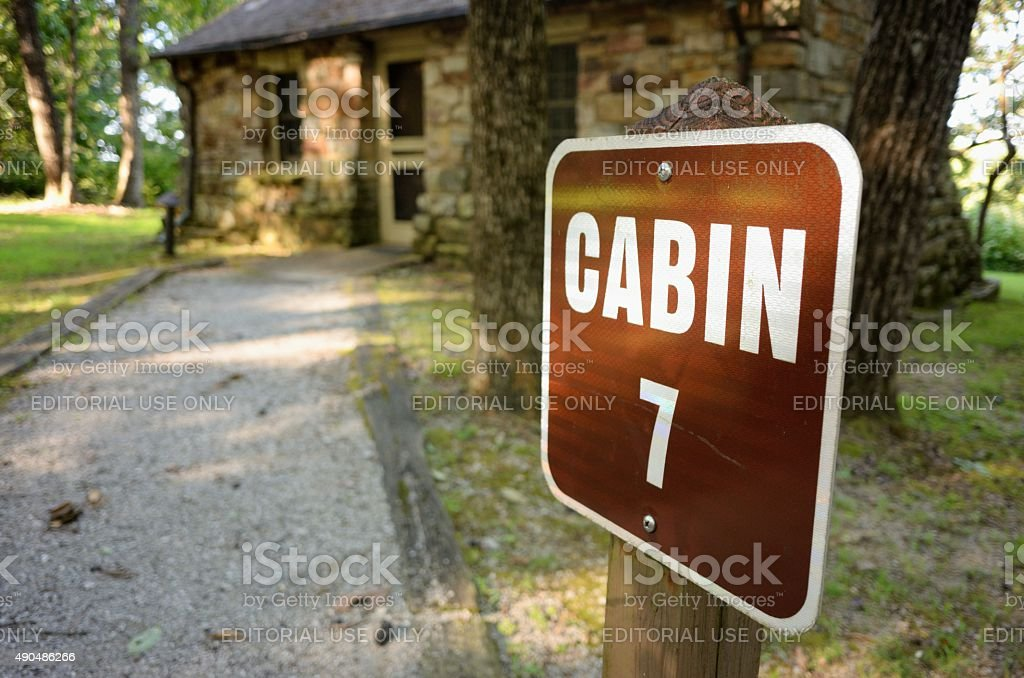 Cabin with sign stock photo