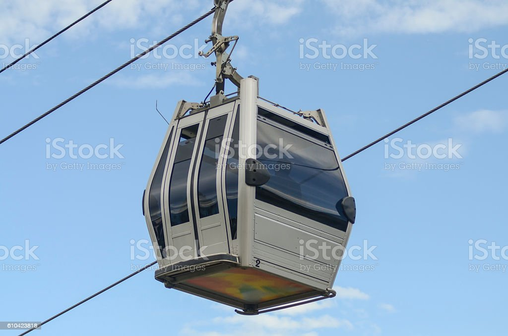 cabinet cable car against the sky stock photo