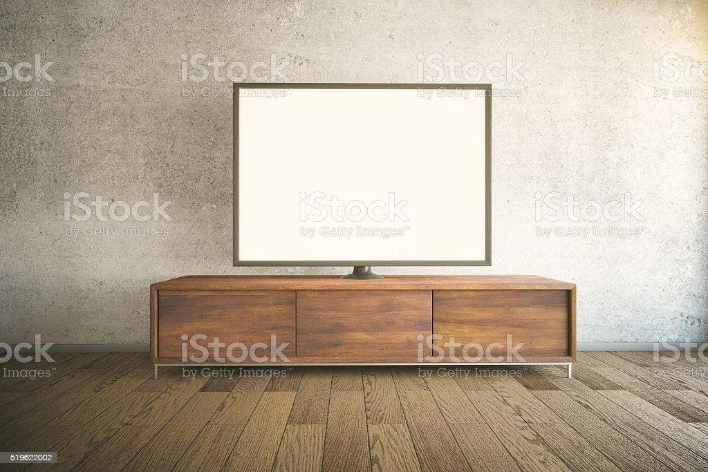 TV cabinet dark stock photo