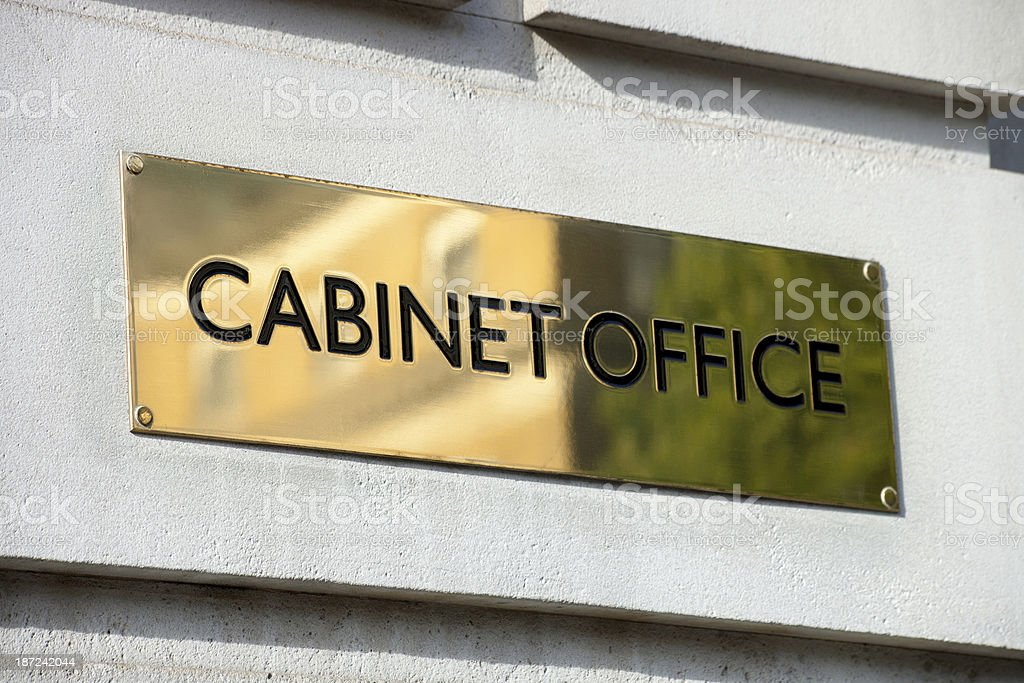 Cabinet Office brass plaque stock photo