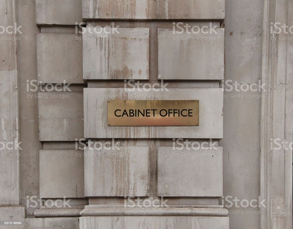 Cabinet Office Plaque - December 2014 stock photo