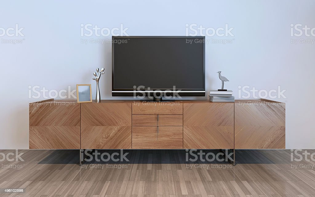 TV cabinet with plasma and decorations stock photo