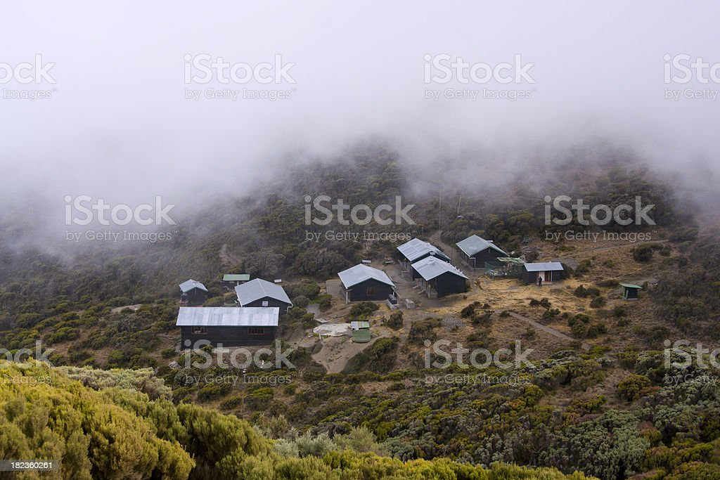 Cabins at the slopes of Mount Meru stock photo