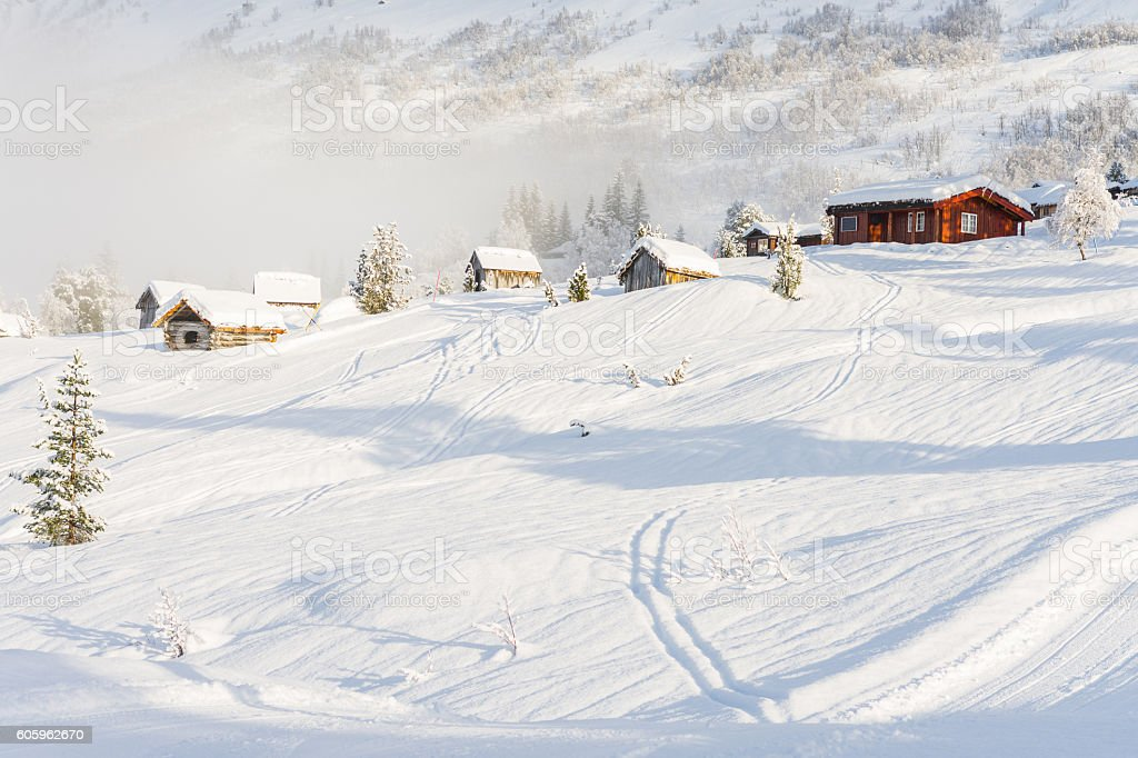 cabins next to stryn ski centre (norway) stock photo