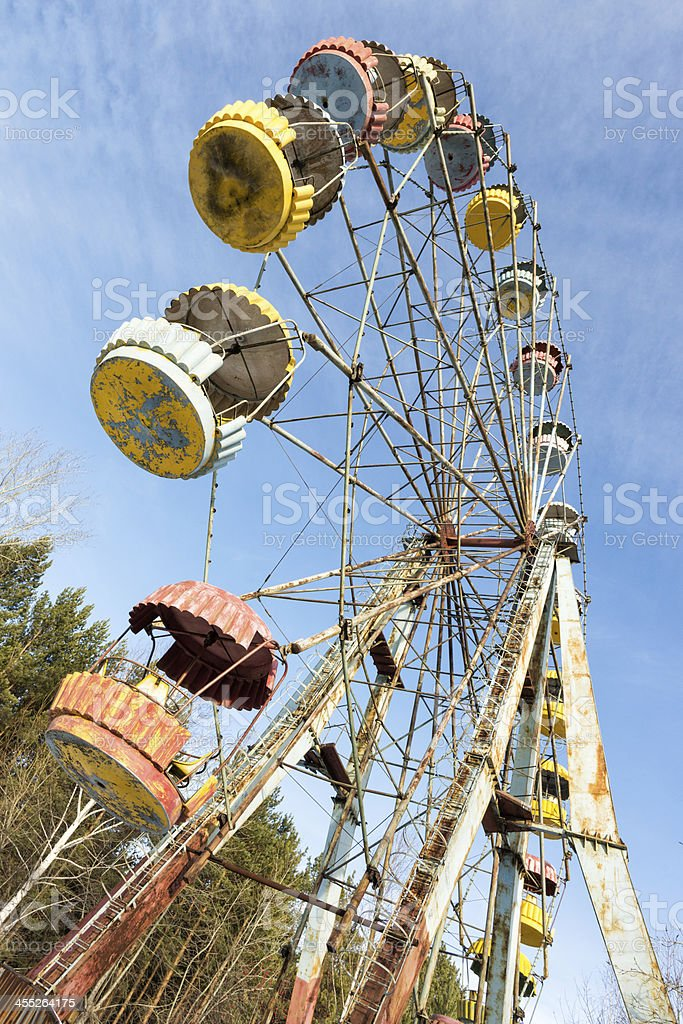 Cabins of abandoned Ferris wheel, Pervouralsk, Urals, Russia stock photo