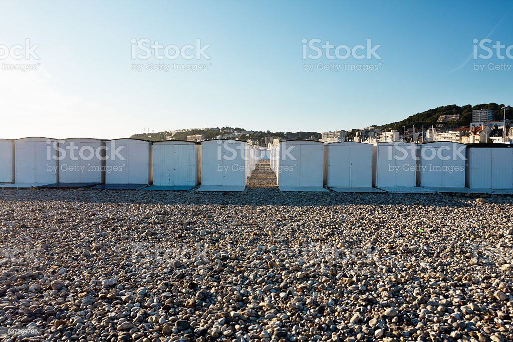 Cabins on the beach stock photo