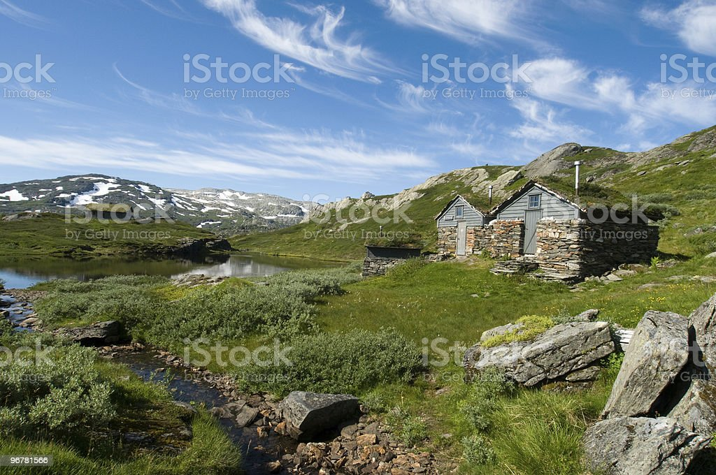 Cabins on the hardangervidda, Norway/H?tten in der Natur royalty-free stock photo