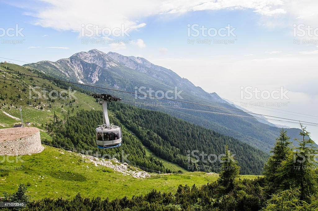 cablaway  in summer mountains stock photo