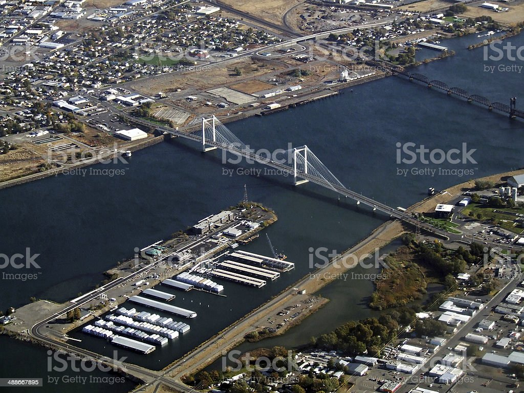 Cable Bridge and Clover Island aerial stock photo