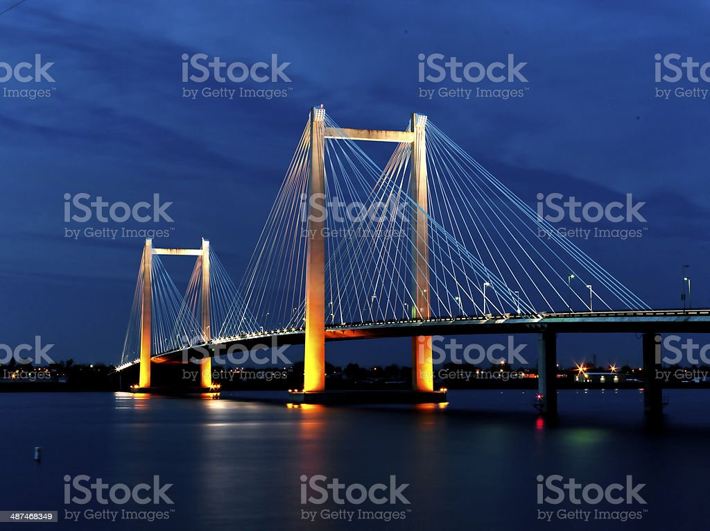 Cable bridge in the evening. stock photo