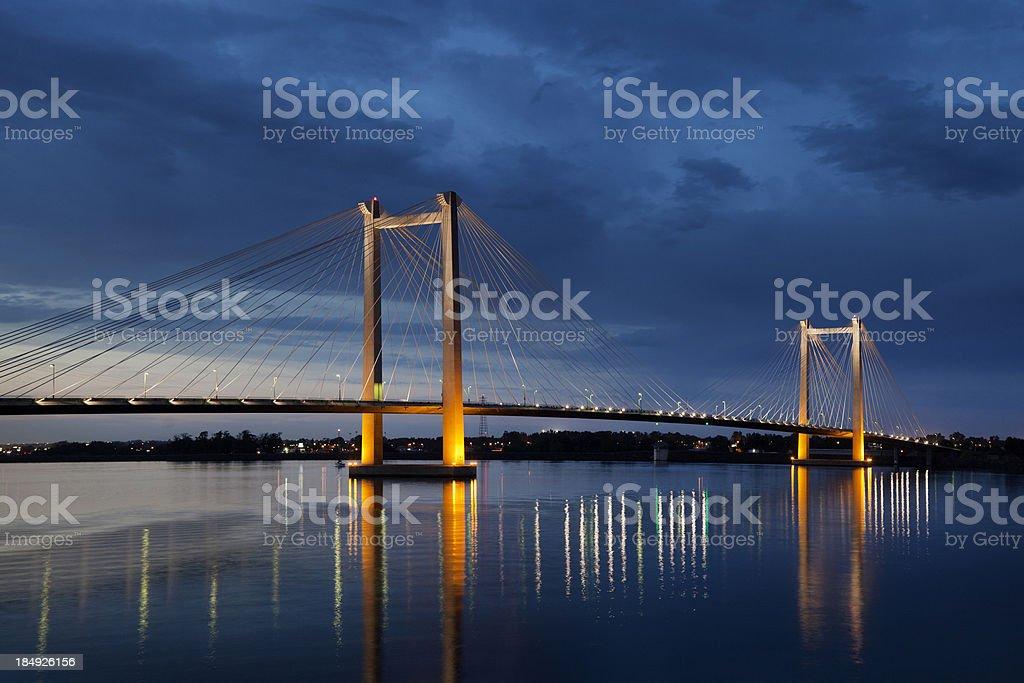 Cable Bridge over Columbia River stock photo