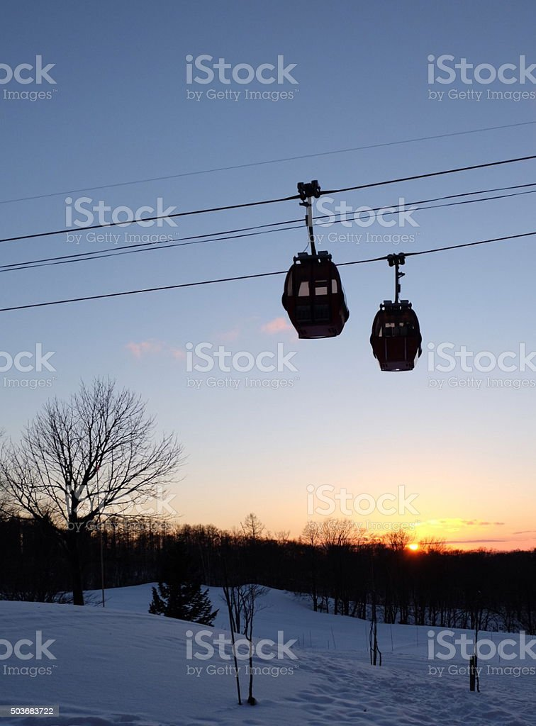 cable car above snow2 stock photo