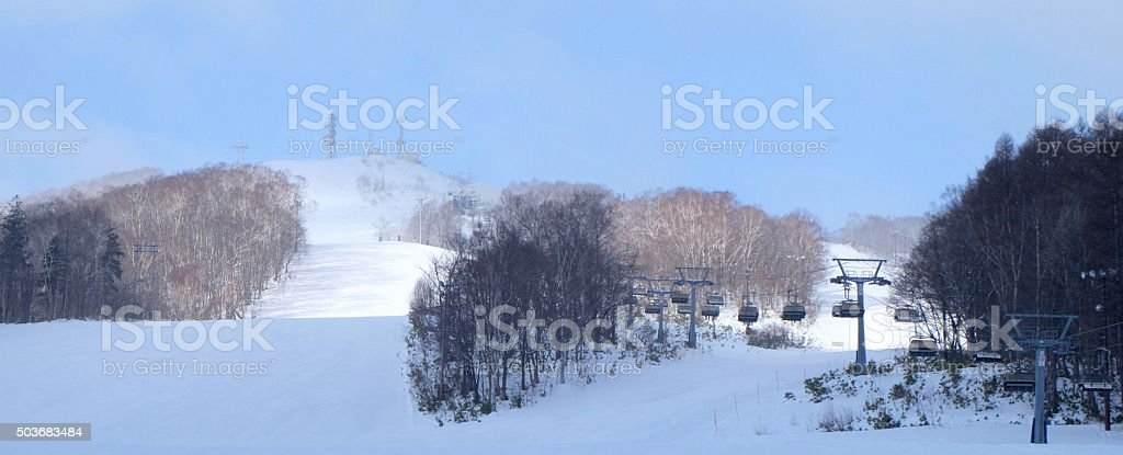 cable car above snow5 stock photo
