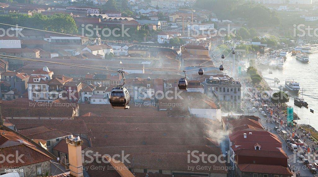 Cable Car above the Cellar in Vila Nova de Gaia stock photo