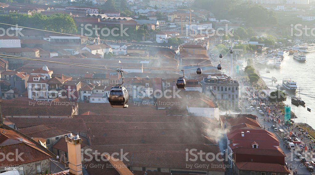 Cable Car above the Cellar in Vila Nova de Gaia stock photo