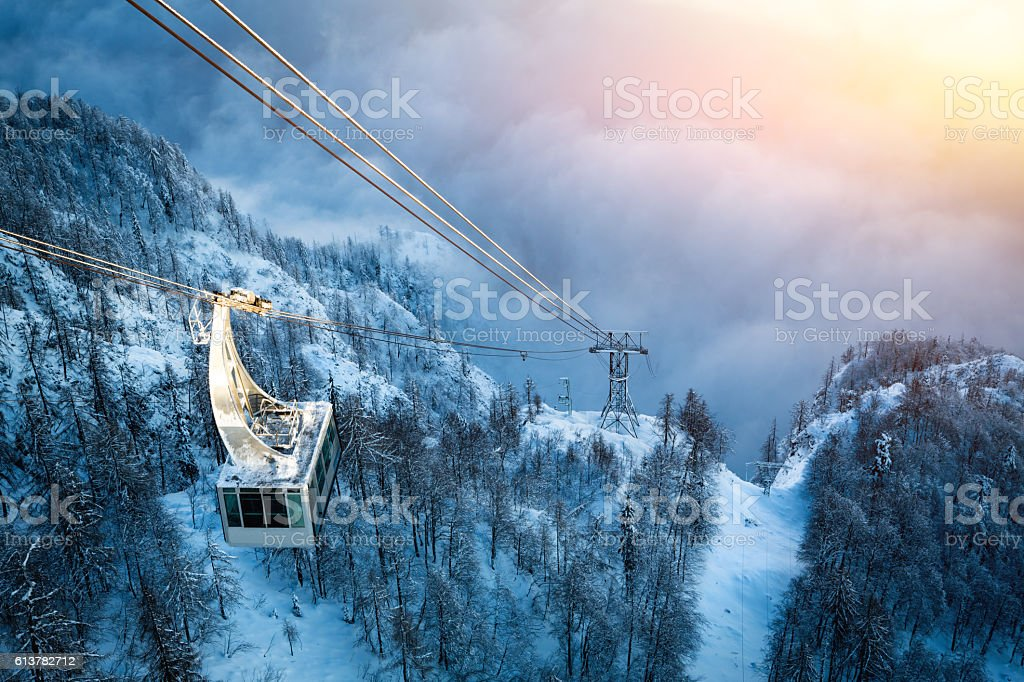 Cable Car Above The Fog stock photo