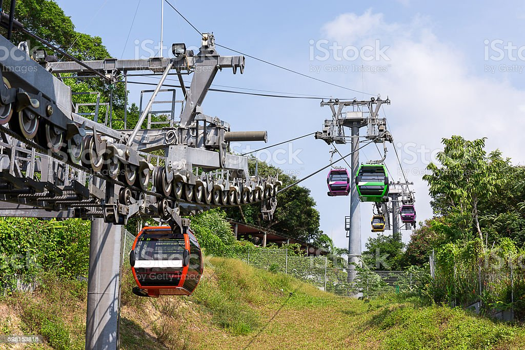 cable car above the sea stock photo