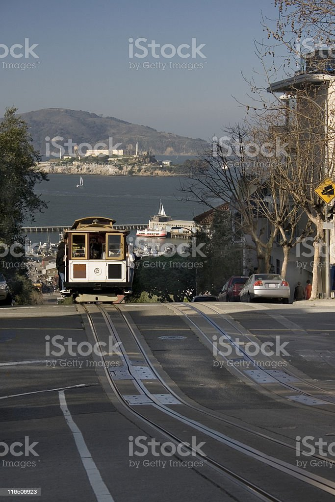 Cable Car and Alcatraz royalty-free stock photo