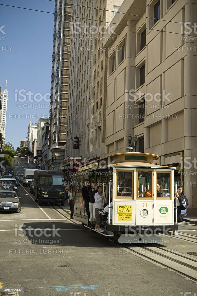 Cable Car and tourists in the streets of San Francisco stock photo