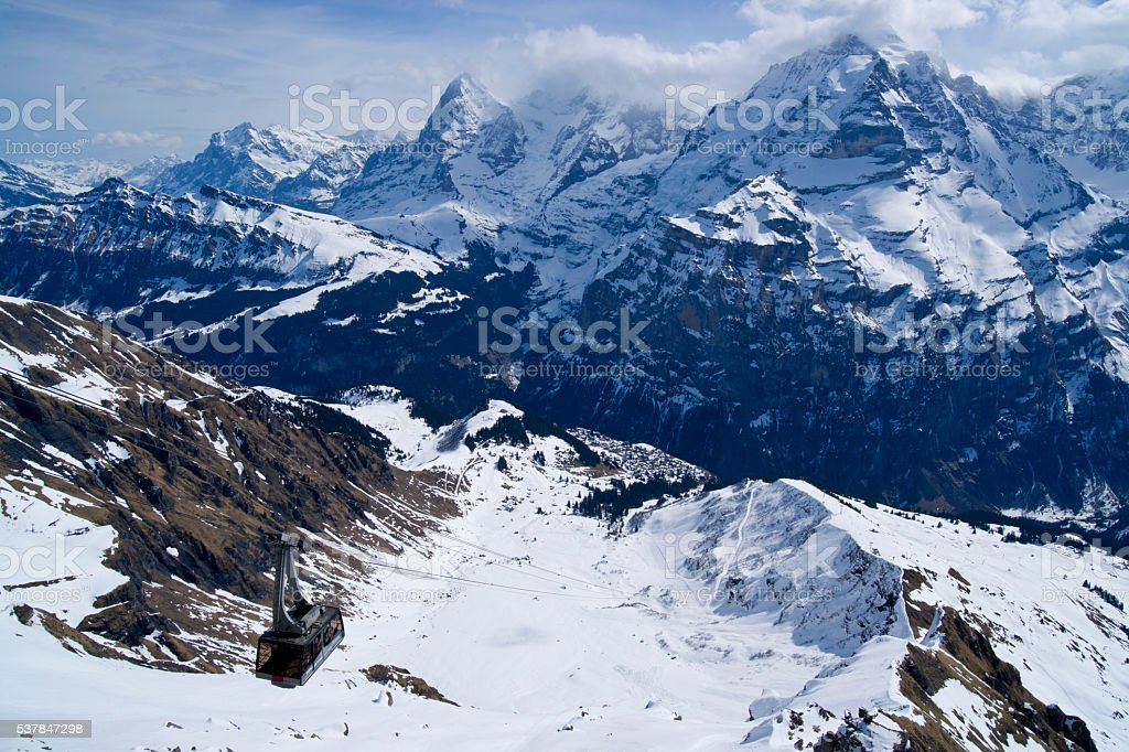 Cable Car ascending the Schilthorn, Switzerland stock photo