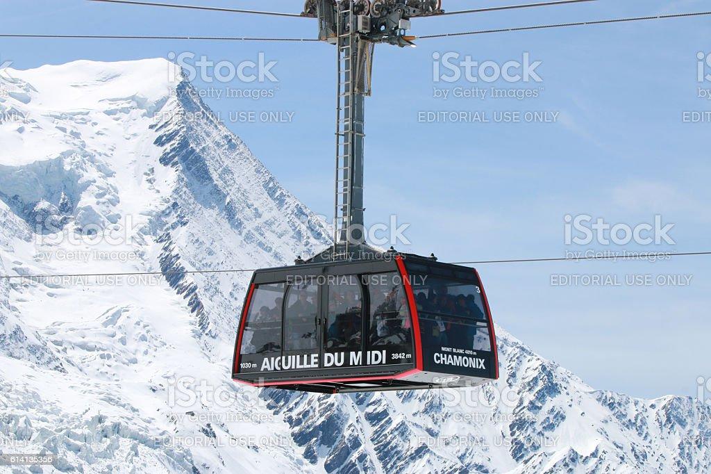 Cable Car at Aiguille de Midi stock photo
