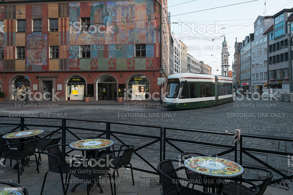 Cable Car at Downtown Augsburg with Weber House stock photo