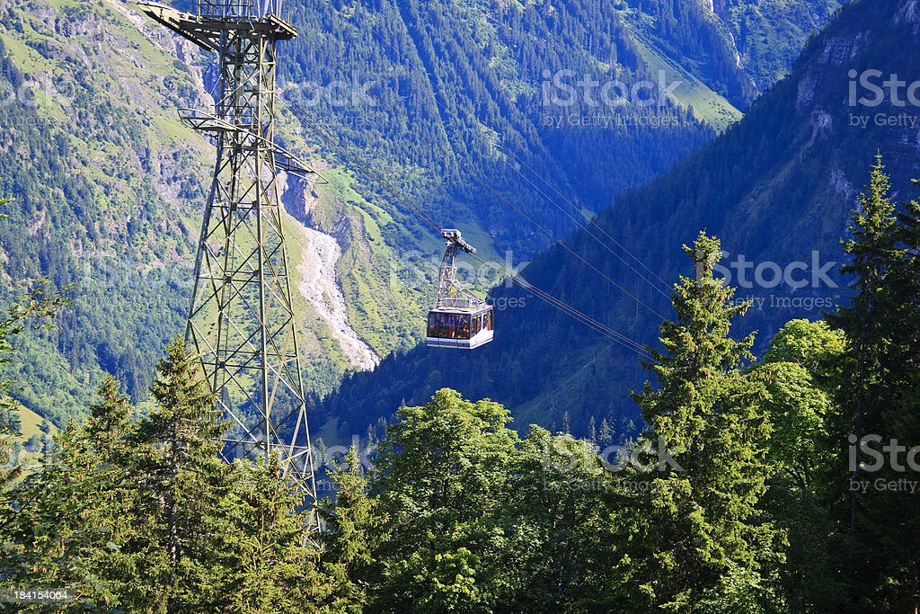 Cable Car at Gimmelwald, Switzerland stock photo