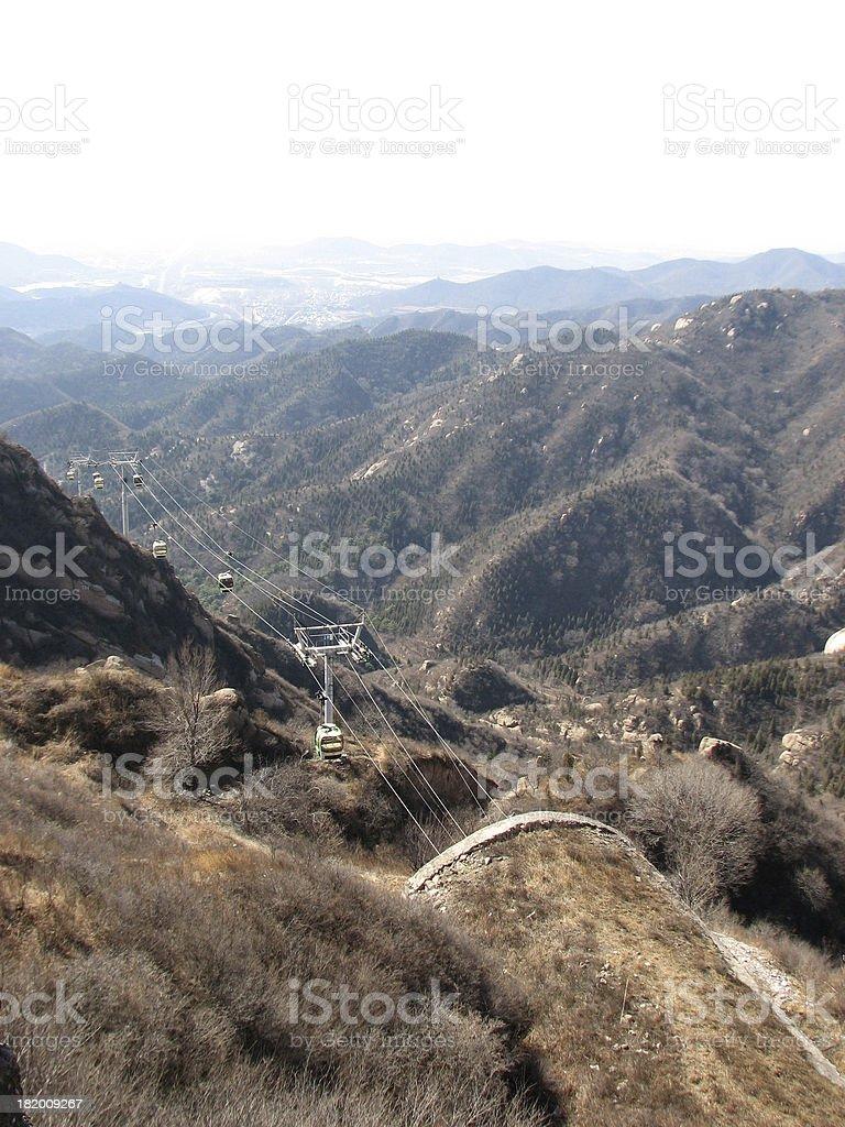 Cable car at Great Wall Of China royalty-free stock photo