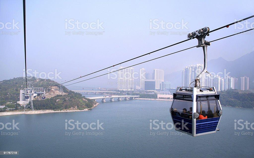 Cable car at Lautau Island, Hong Kong. royalty-free stock photo