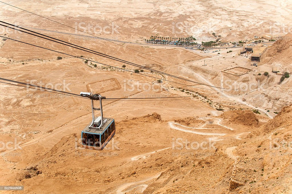 Cable car at Masada stock photo