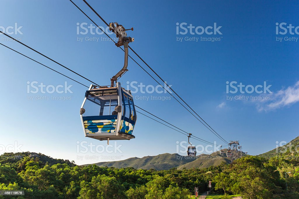 Cable Car at mountains stock photo