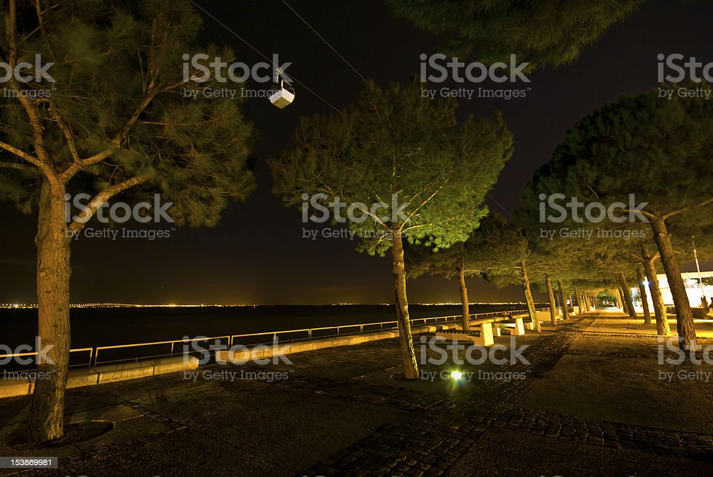 Cable car at night royalty-free stock photo