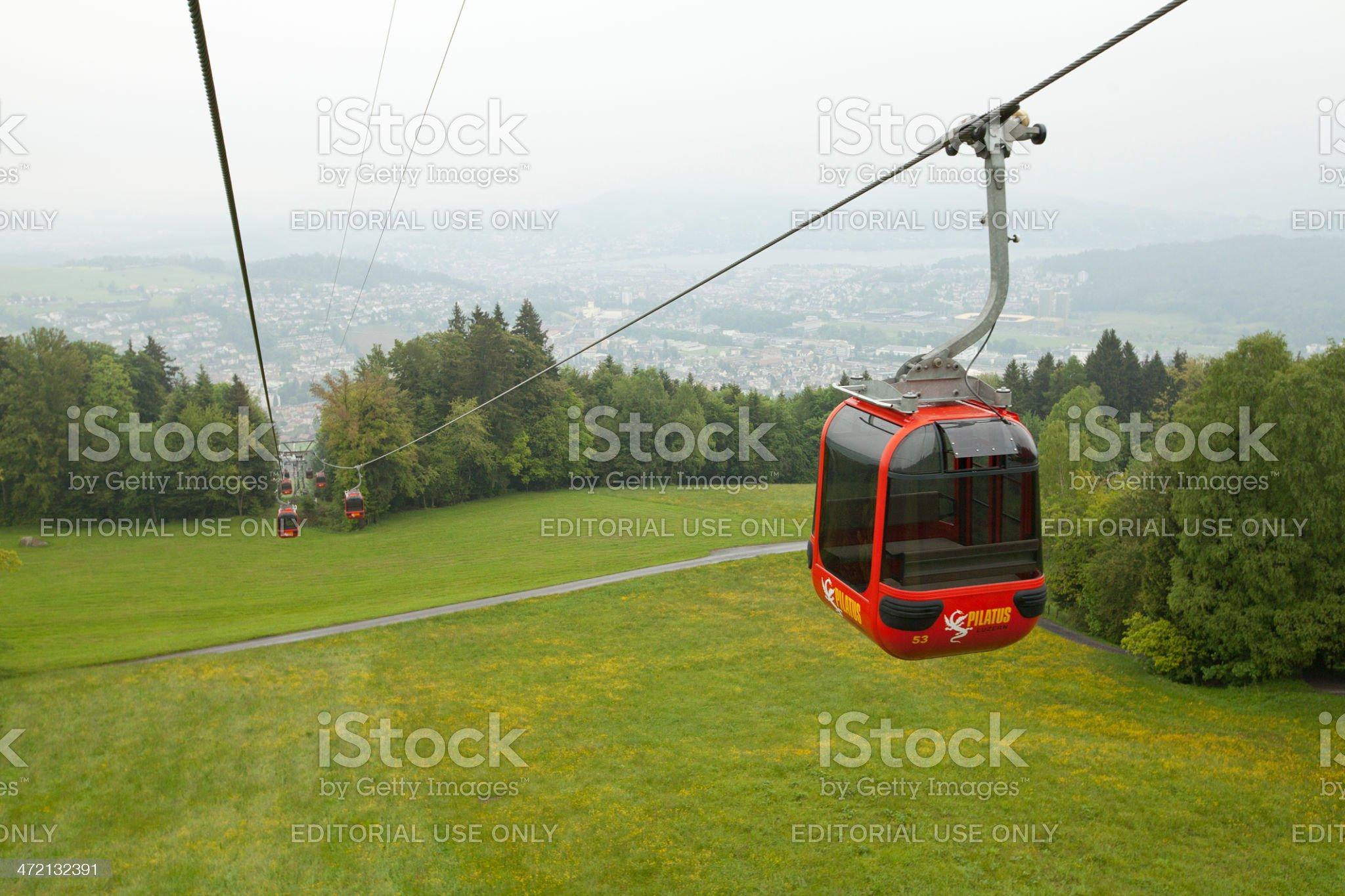 Cable car at Pilatus Mountain royalty-free stock photo