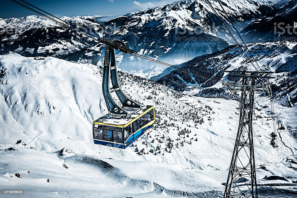 Cable car at ski resort stock photo