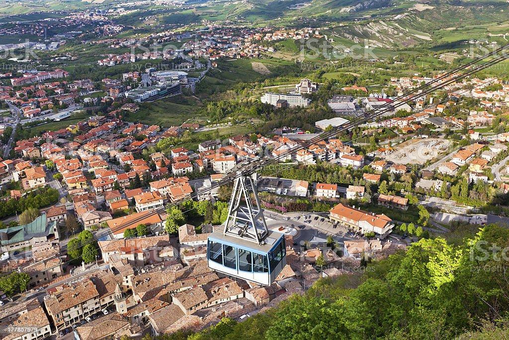 Cable Car at Titano mountain, San Marino stock photo