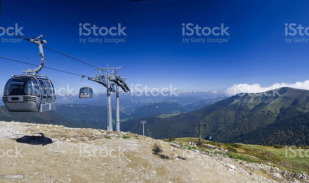 Cable car at top of a mountain royalty-free stock photo