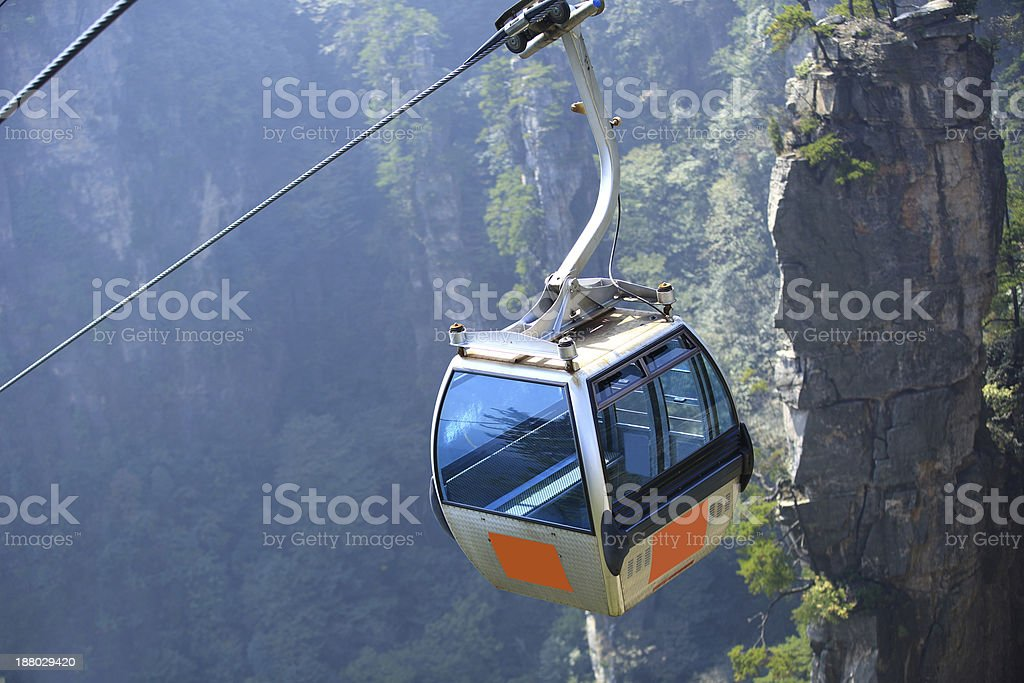 cable car at zhangjiajie national forest park,china stock photo